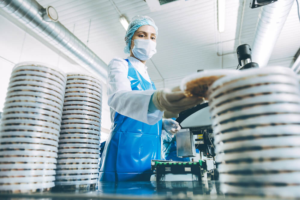 Factory Worker in PPE Mask